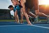 Leichtathletik: Läufer bei Startschuss